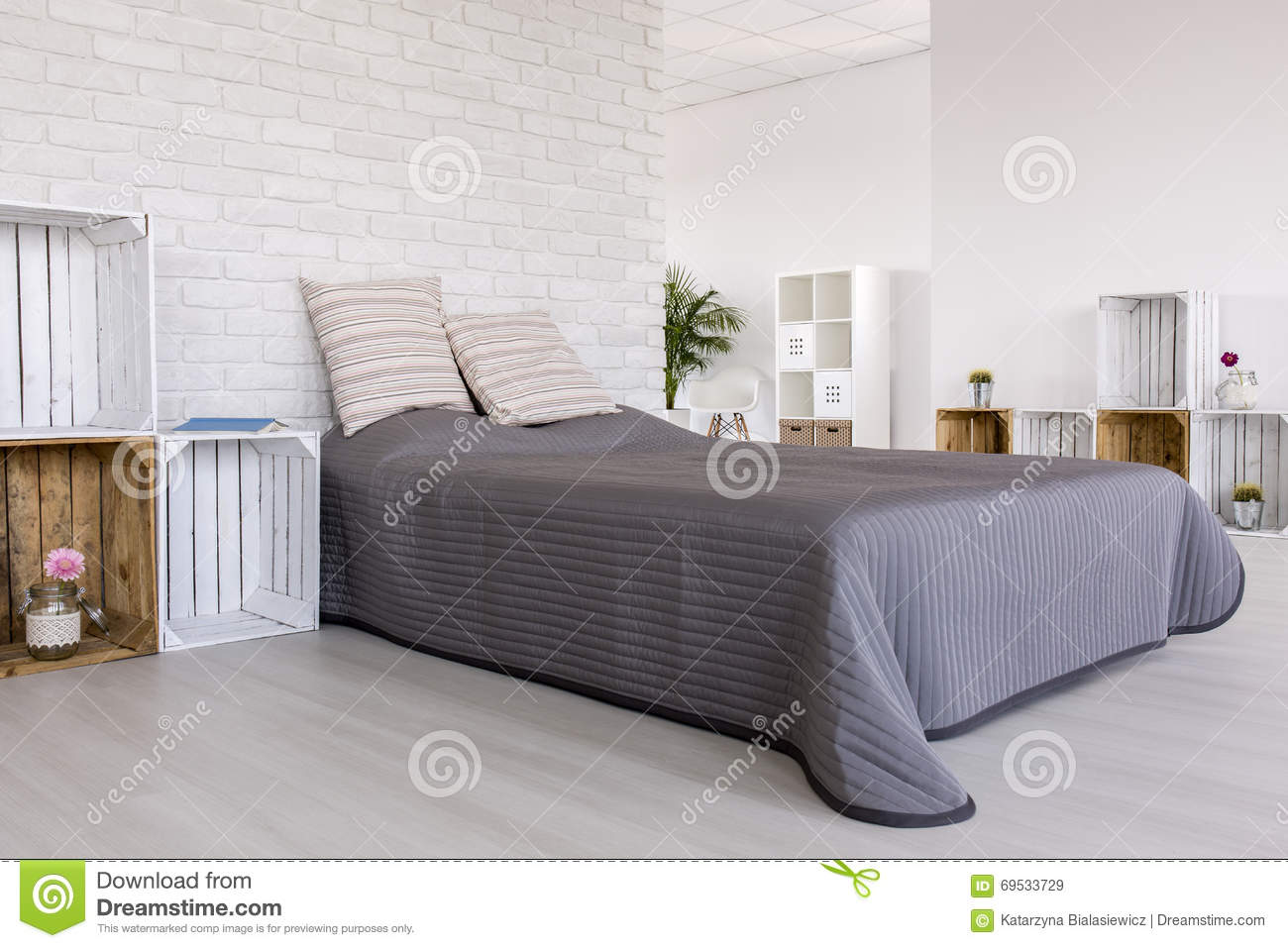 astounding bedroom brick wall | A Little Bit Of Creativity For Amazing Bedroom Stock Image ...