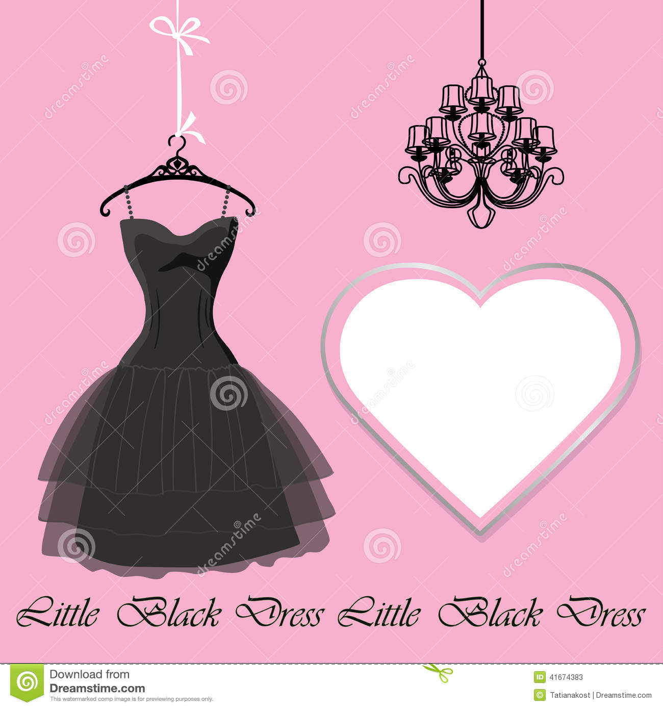 Little Black Dress With Label And Chandelier Stock Vector