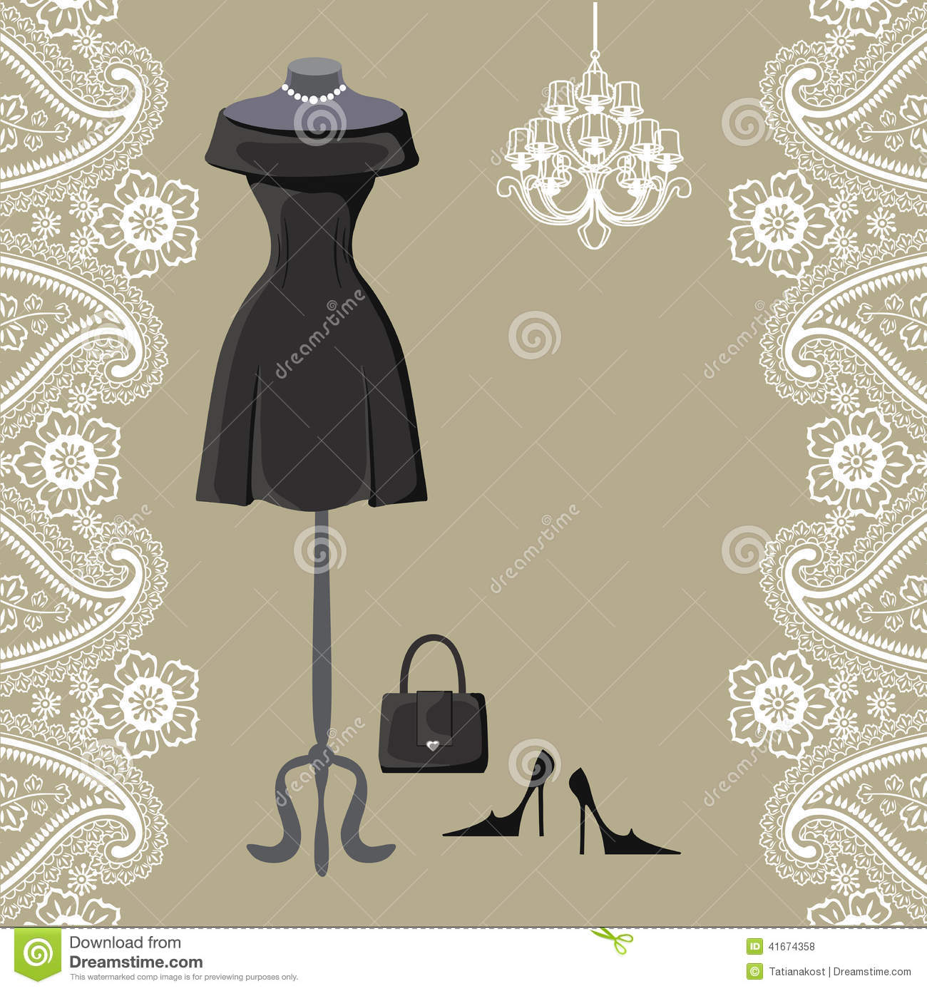 Paisley shower curtain - Little Black Dresses With Chandelier And Paisley Border
