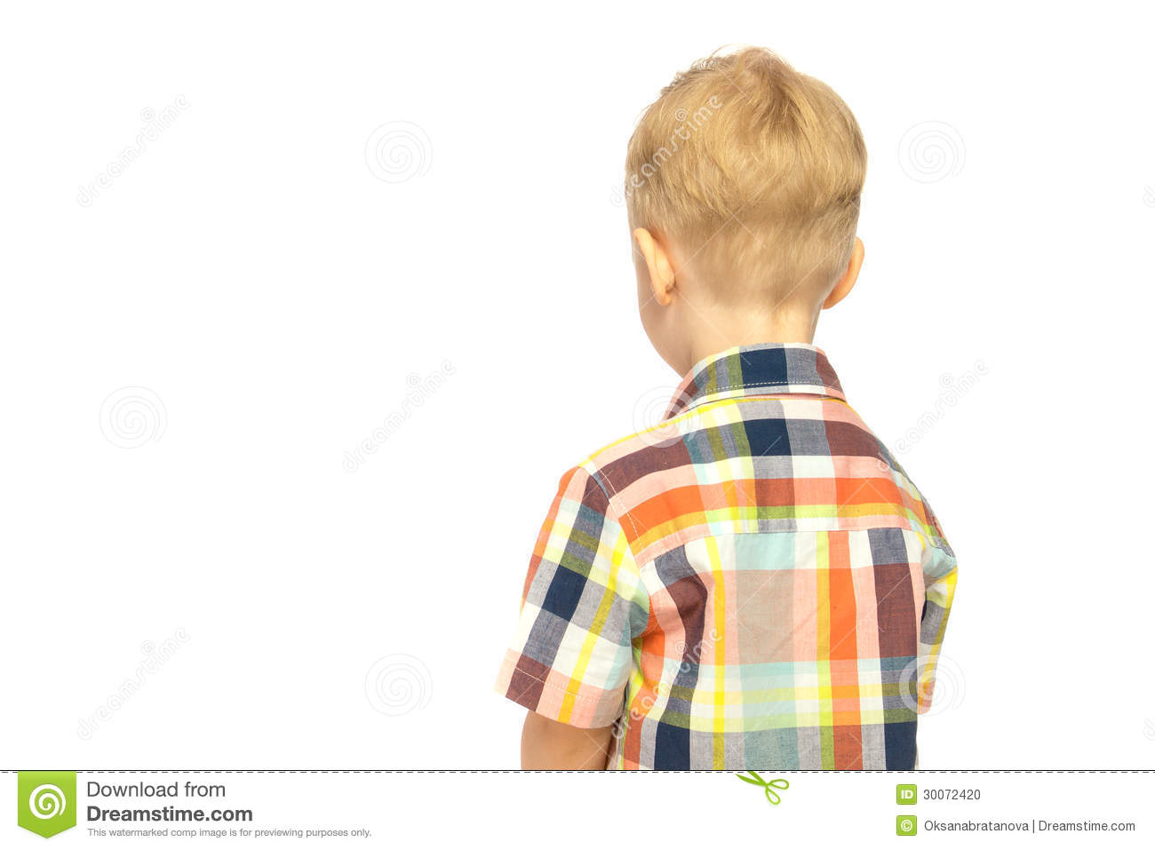 Child Turned His Back Stock Photo Image Of Copyspace