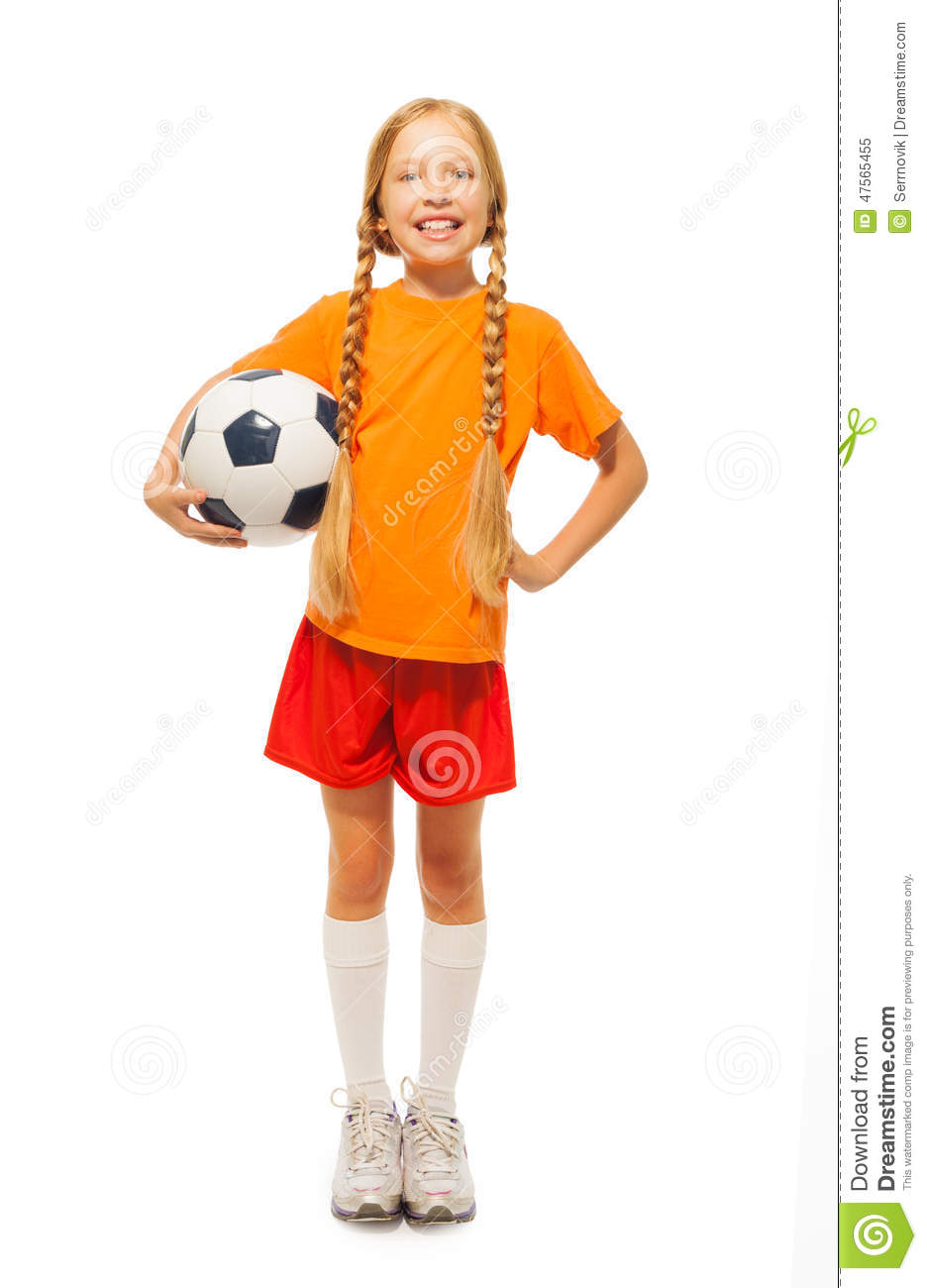 ee8016d7c Little Blond Girl Holding Soccer Ball Isolated Stock Photo 47565455 ...