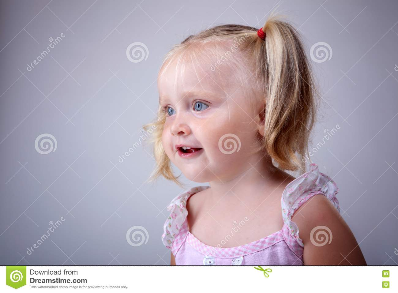 Little Blonde Girl Stock Photo Image Of Pigtails Female