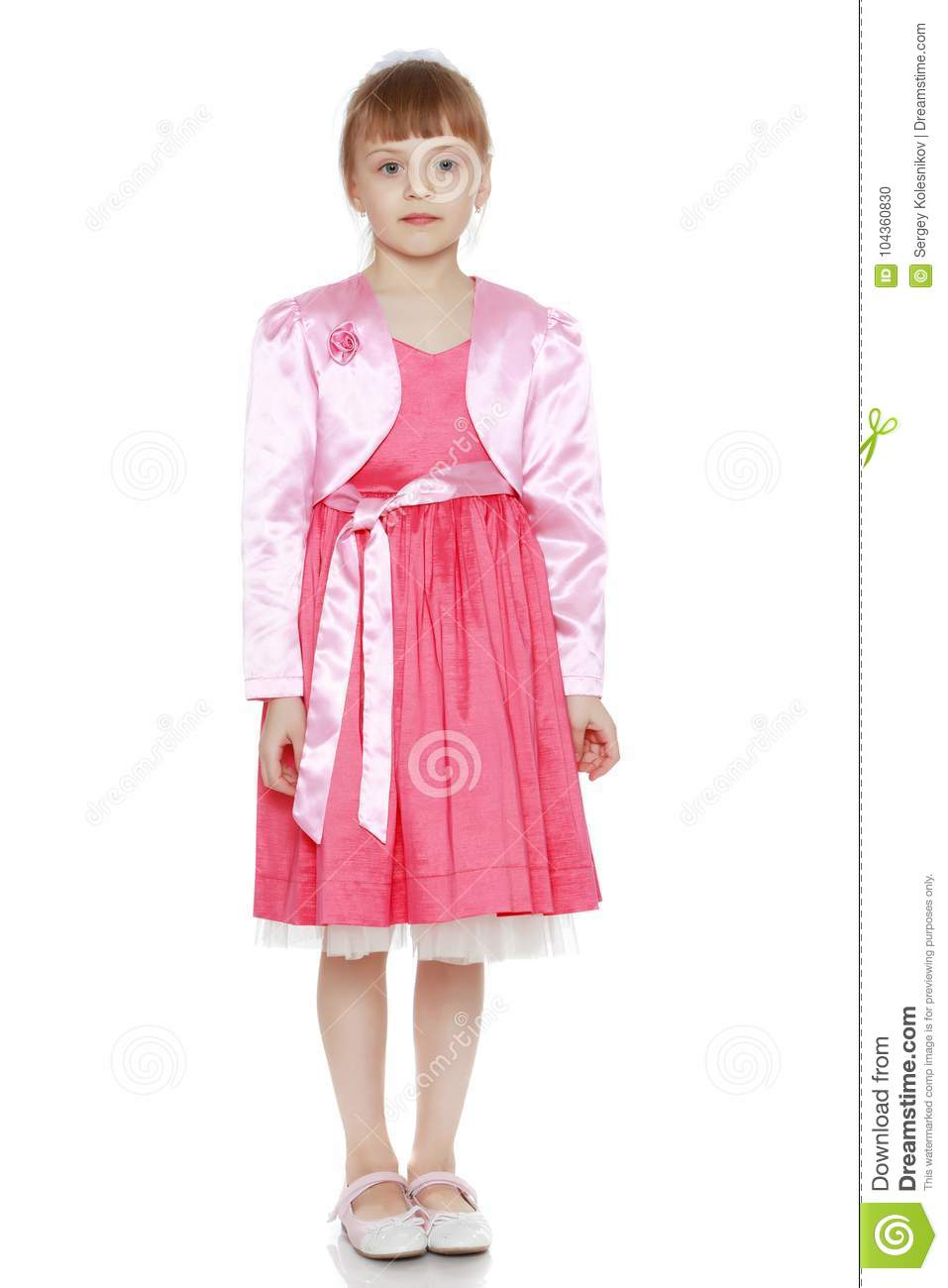 52a252a456a Little Blonde Girl In Red Dress. Stock Photo - Image of small ...