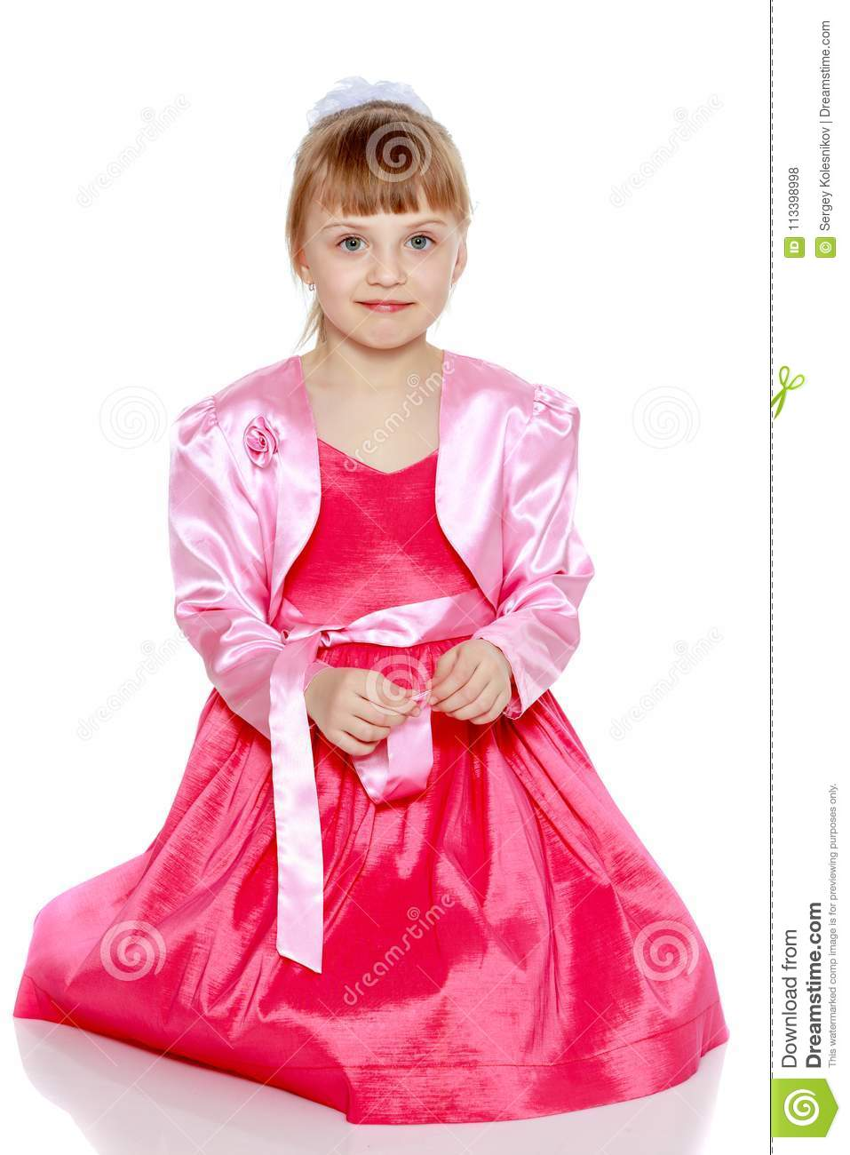 ae11ab6dd3d Little Blonde Girl In Red Dress. Stock Photo - Image of lovely ...