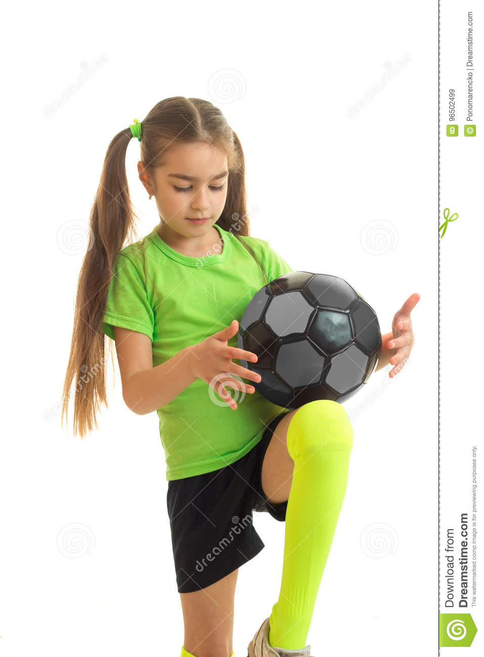 f7b1d3562 Little Blonde Girl In Sport Uniform Playing With Soccer Ball Stock ...