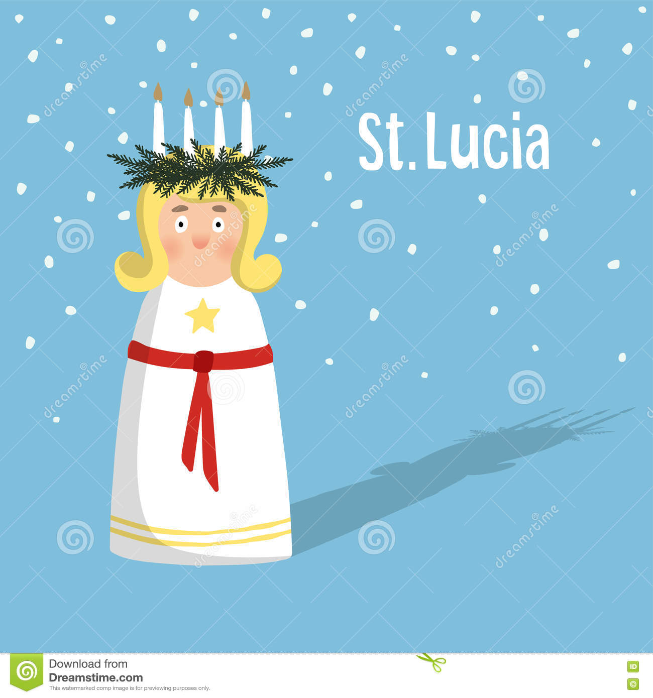 Little blonde girl with wreath and candle crown, Saint Lucia. Swedish Christmas tradition, illustration background.