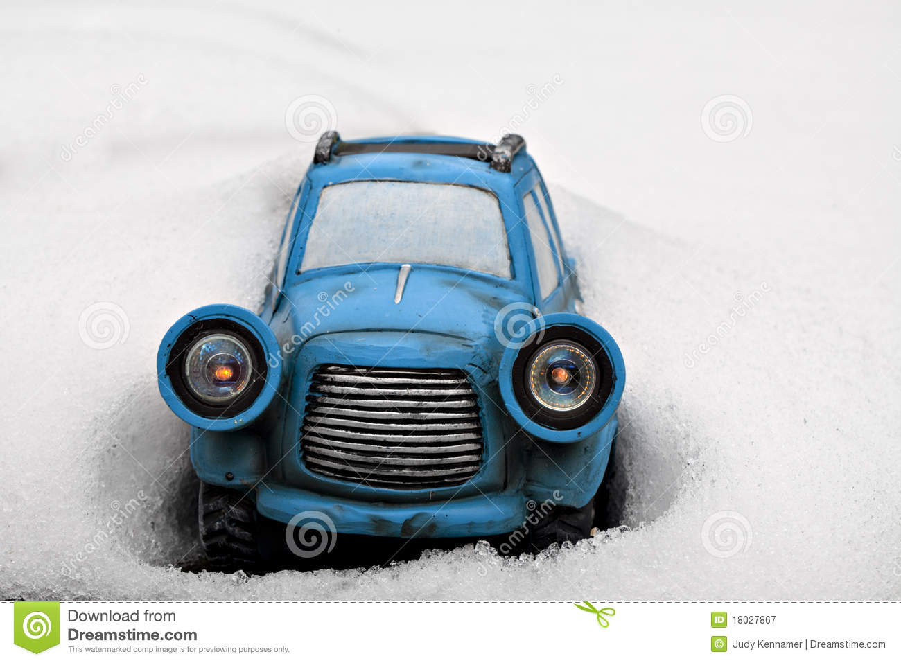 Little Blue Toy Car Stuck In Snow Stock Image Image Of Horizontal