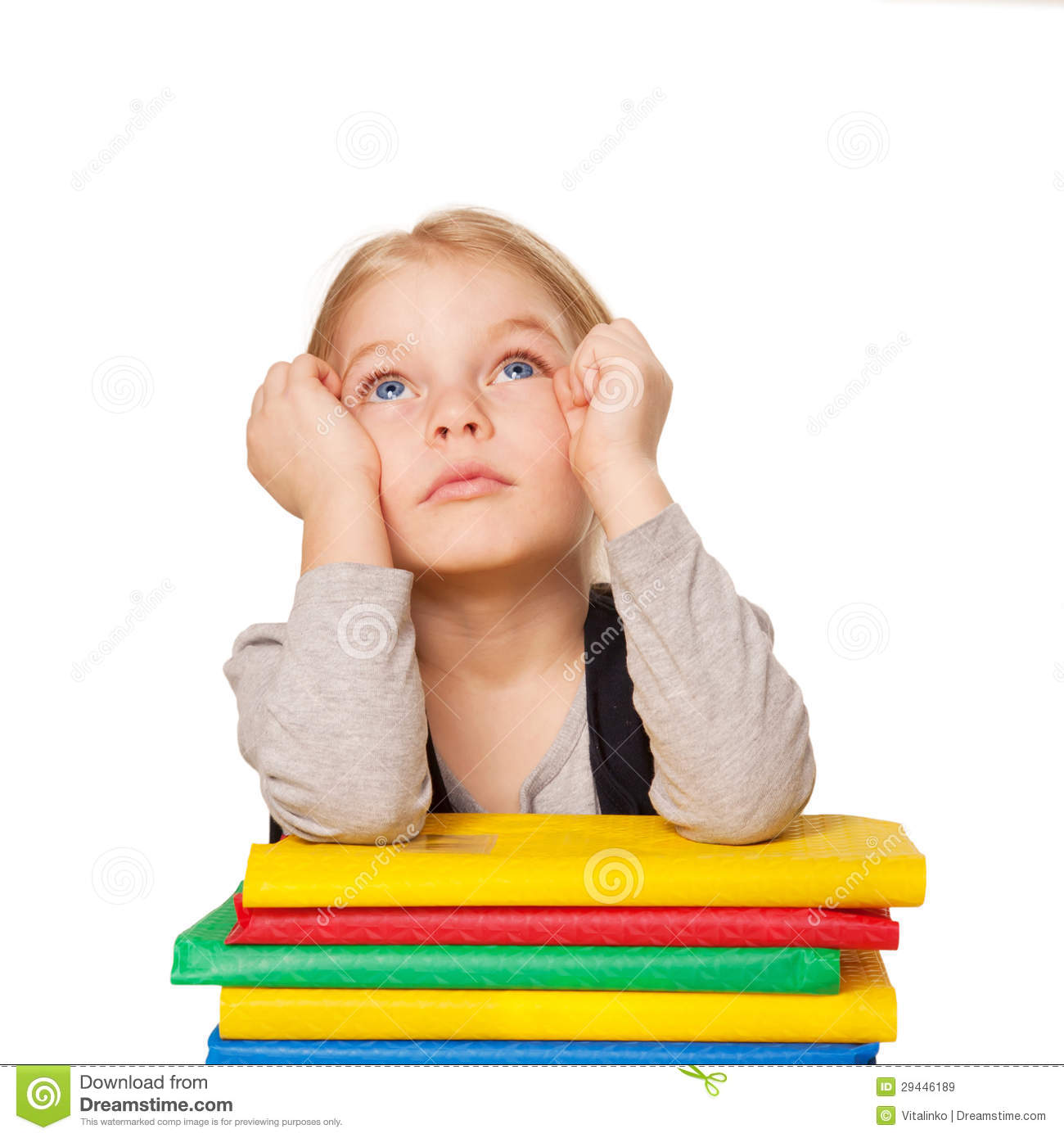 little bored student girl with books stock image image