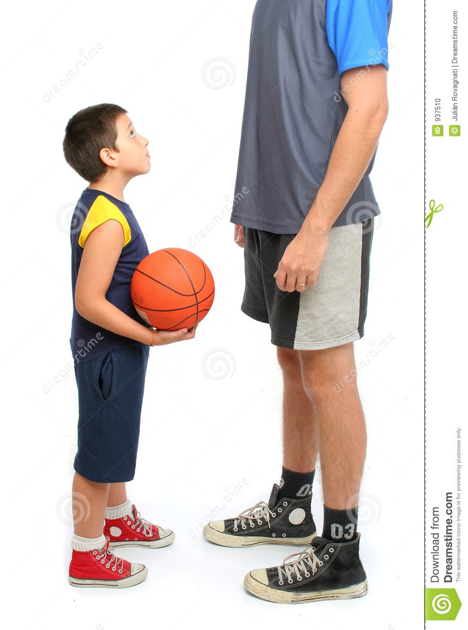 Little Boy Asking Big Man To Play Basketball Stock Photo - Image ...