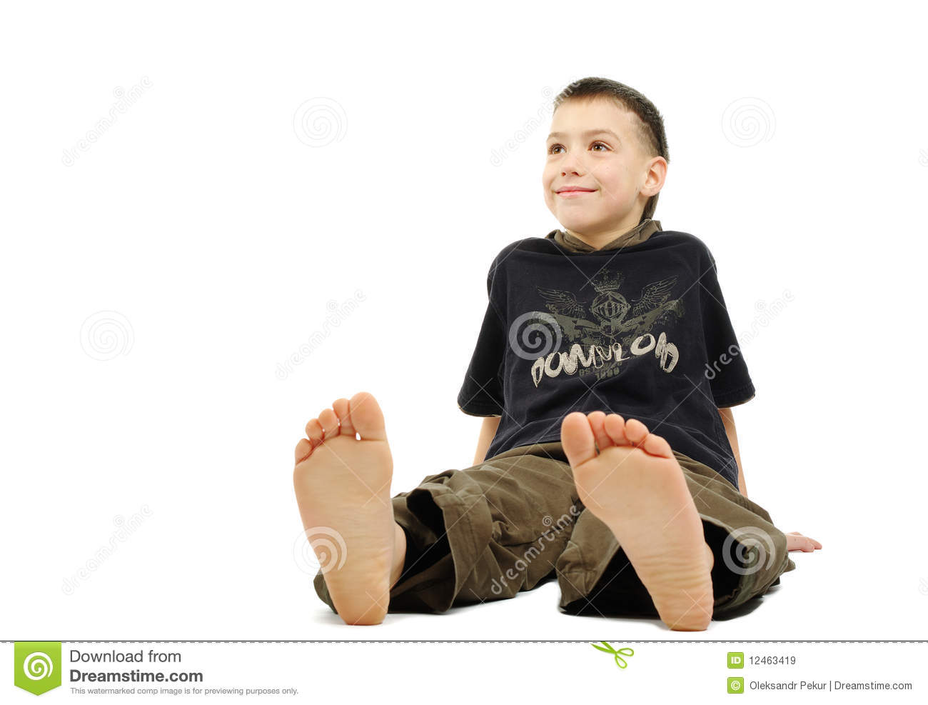 Little Boy Barefoot, Isolated On Royalty Free Stock Images - Image ...