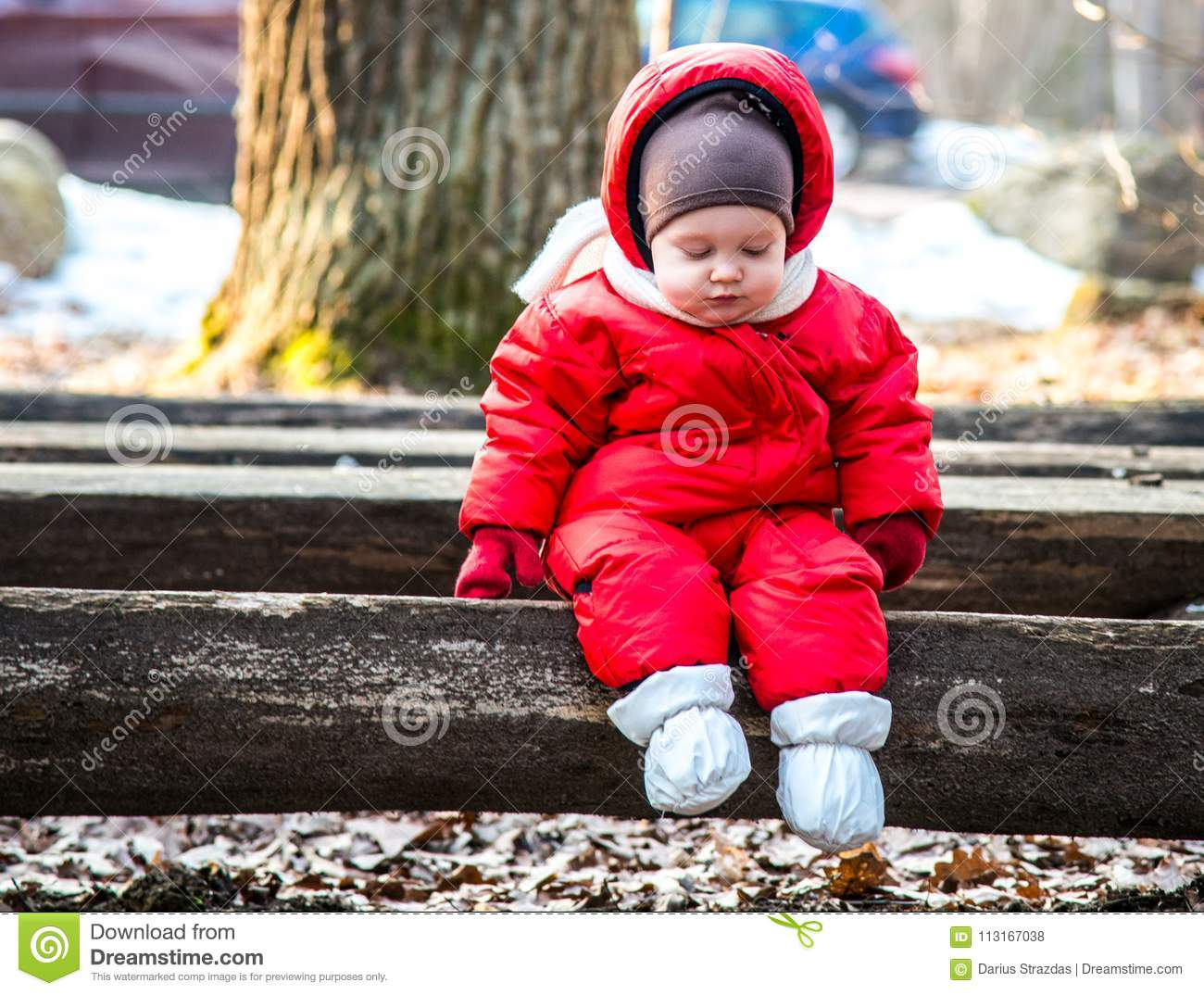 Little boy on a bench