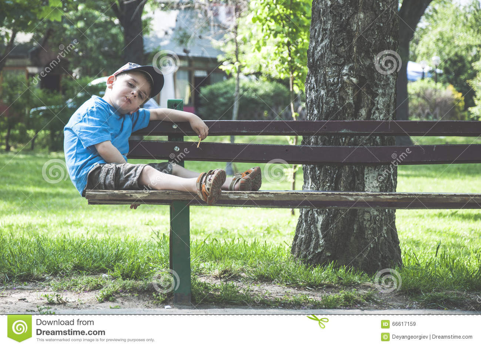 Little boy on a bench