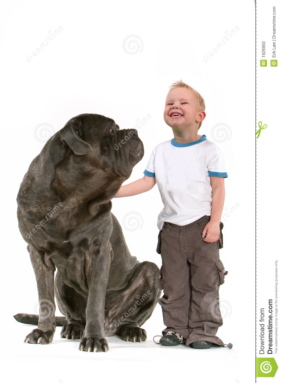 Little Boy With Big Dog