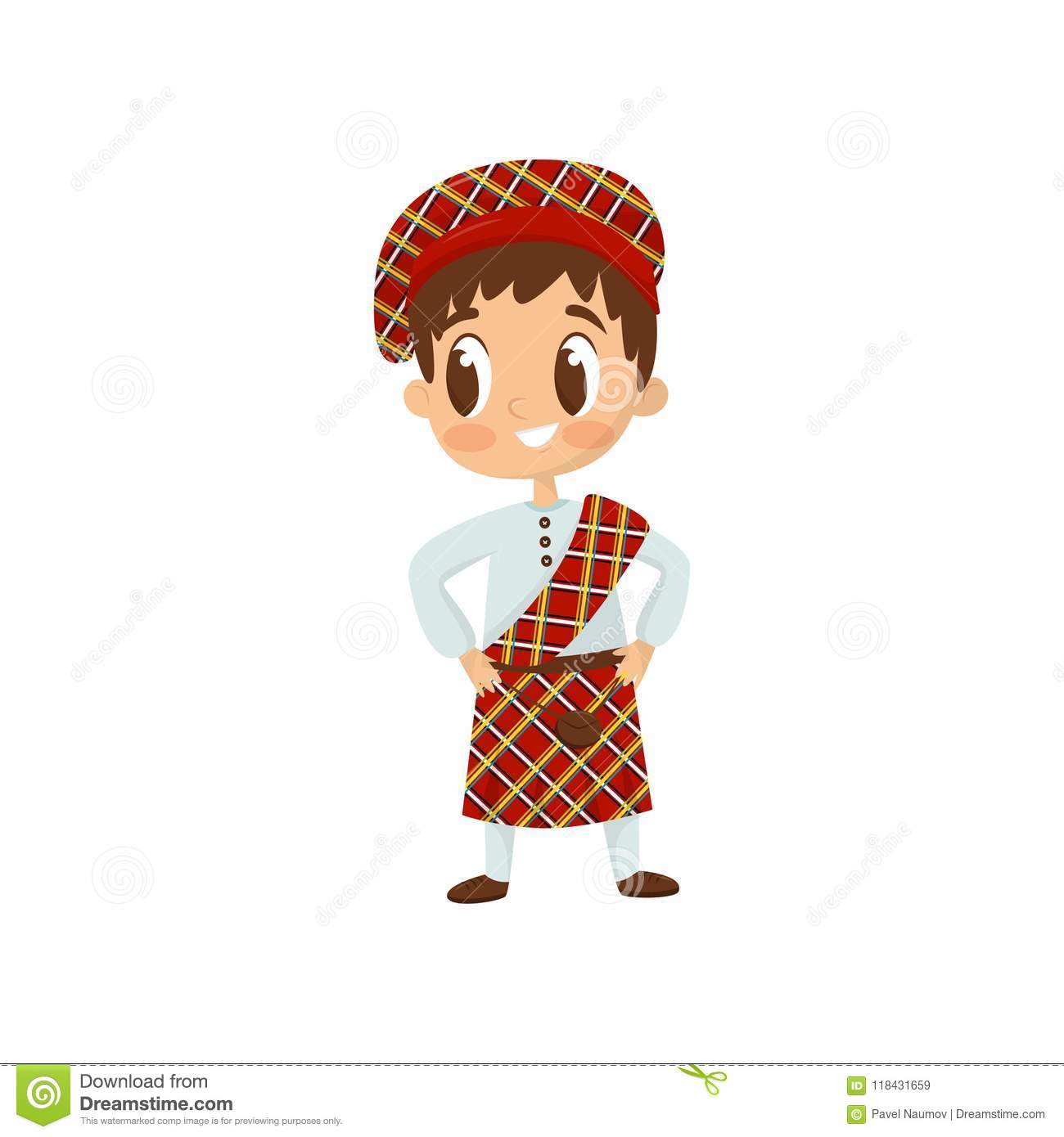 Flat vector icon of little boy in traditional Scottish kilt costume. Child wearing shirt, bright red plaid skirt and hat