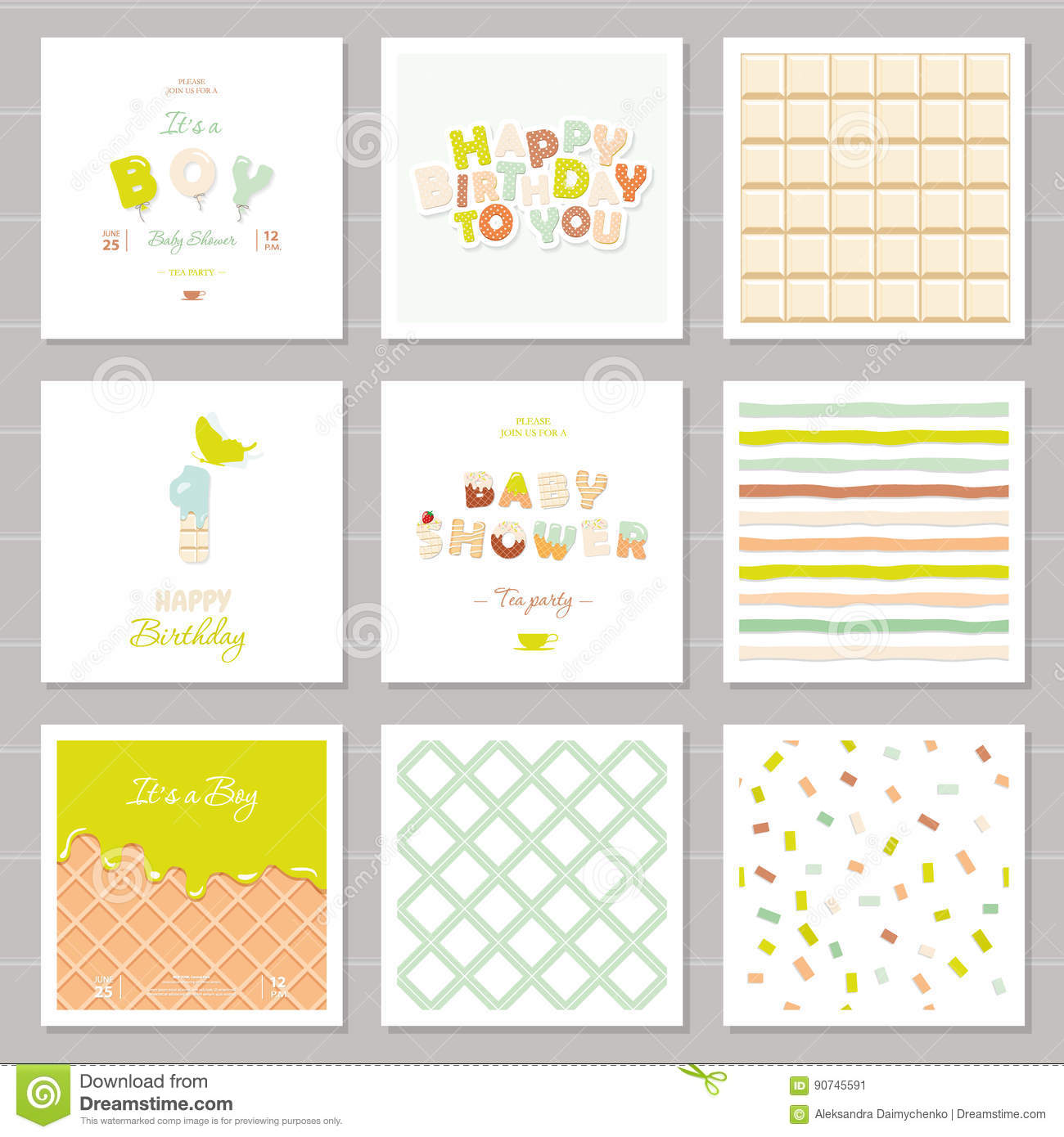 Little Boy Birthday And Baby Shower Invitation Cards Set. One Year ...