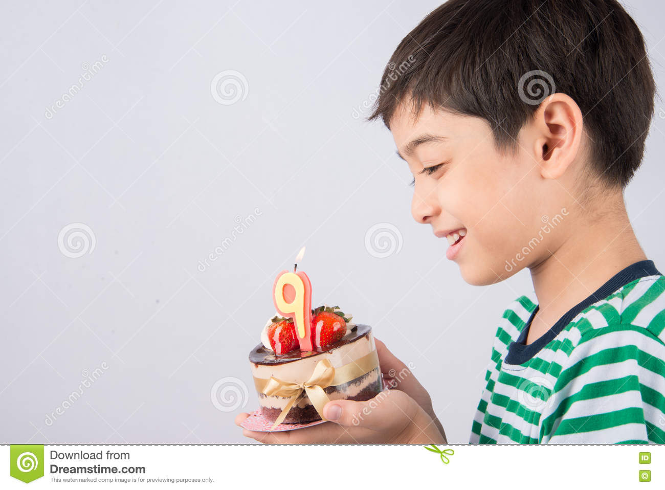 Fat  Year Old Male Eating Birthday Cake