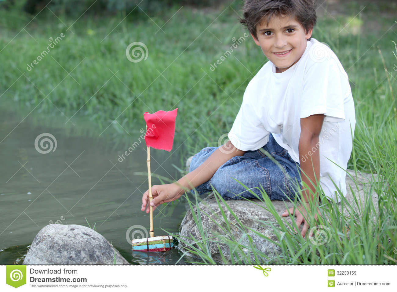 Lillle Boy Toys Boats : Little boy with a boat royalty free stock images image