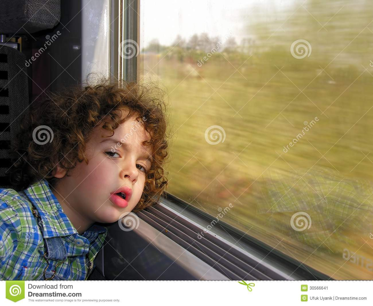 Little Boy Bored On The Train Journey Stock Image Image