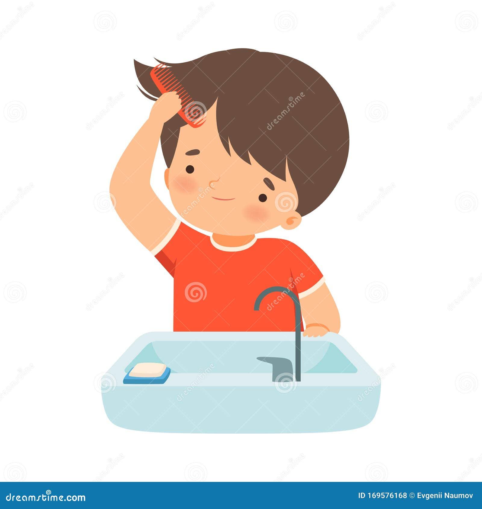 Boy Brushing Hair Stock Illustrations 81 Boy Brushing Hair Stock Illustrations Vectors Clipart Dreamstime