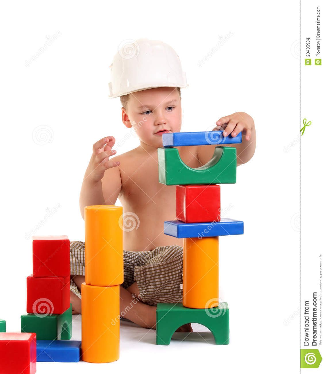 Little Boy Toys : Little boy builds a house of toys stock images image
