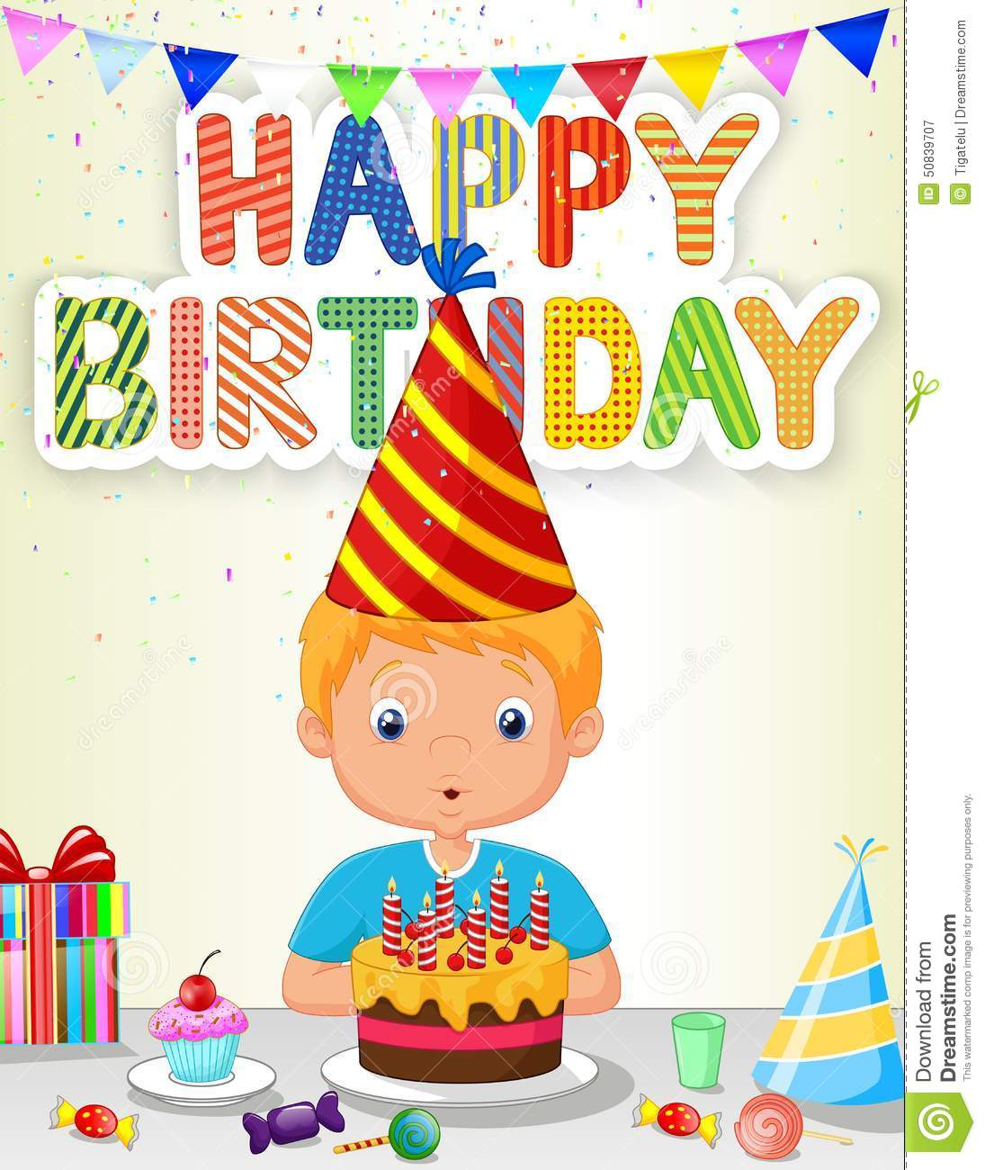 Little Boy Cartoon Blowing Birthday Candle Stock Vector