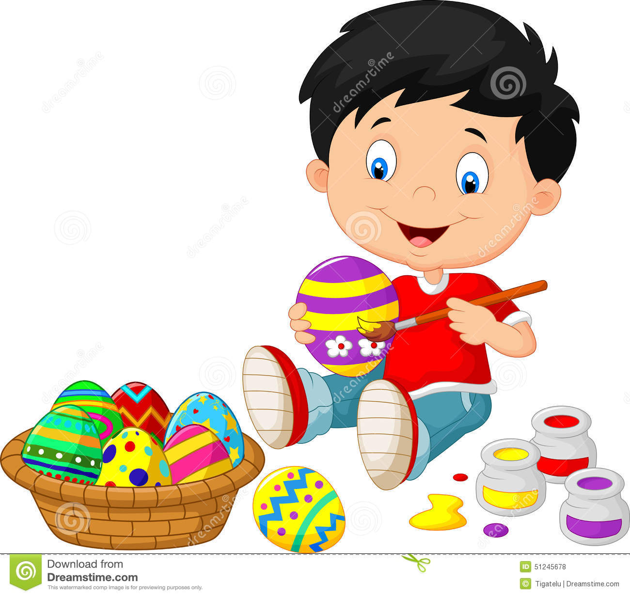 Little Boy Cartoon Painting An Easter Egg Stock Vector ...