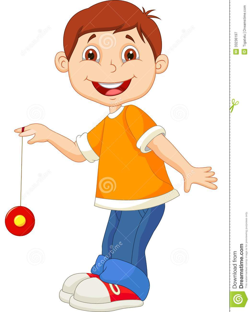 Little Boy Cartoon Playing Yo Yo Royalty Free Stock Photography
