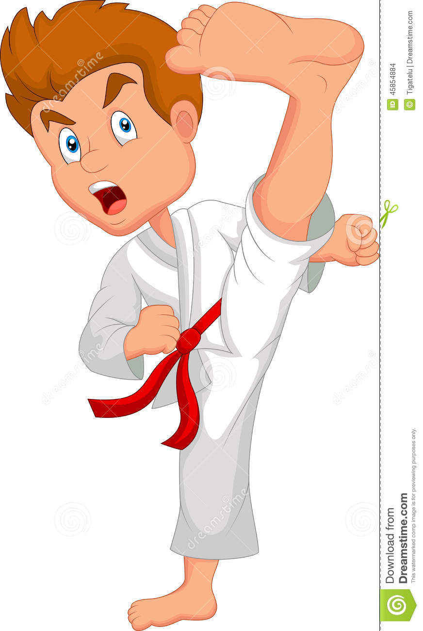 Little Boy Cartoon Training Karate Stock Vector - Image: 45854884