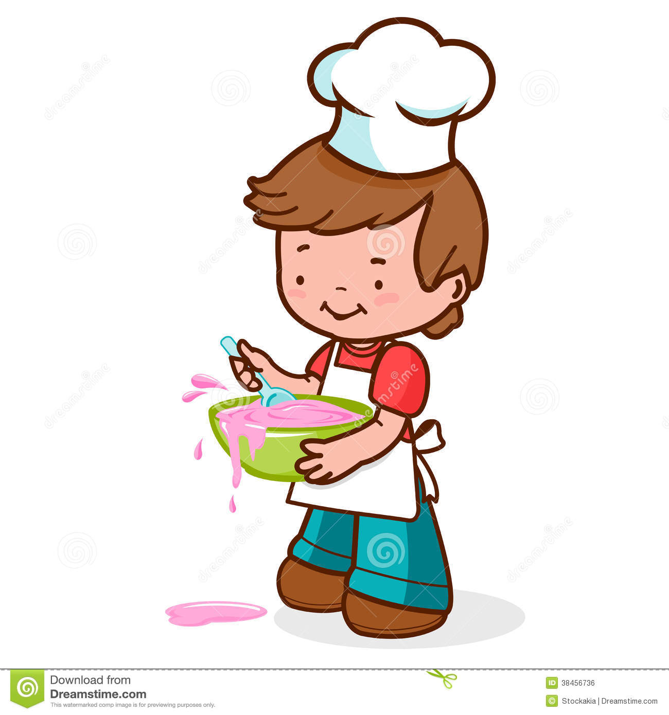 Clip Art Messy Kitchen: Messy Boy Chef Cooking Stock Vector. Illustration Of Food