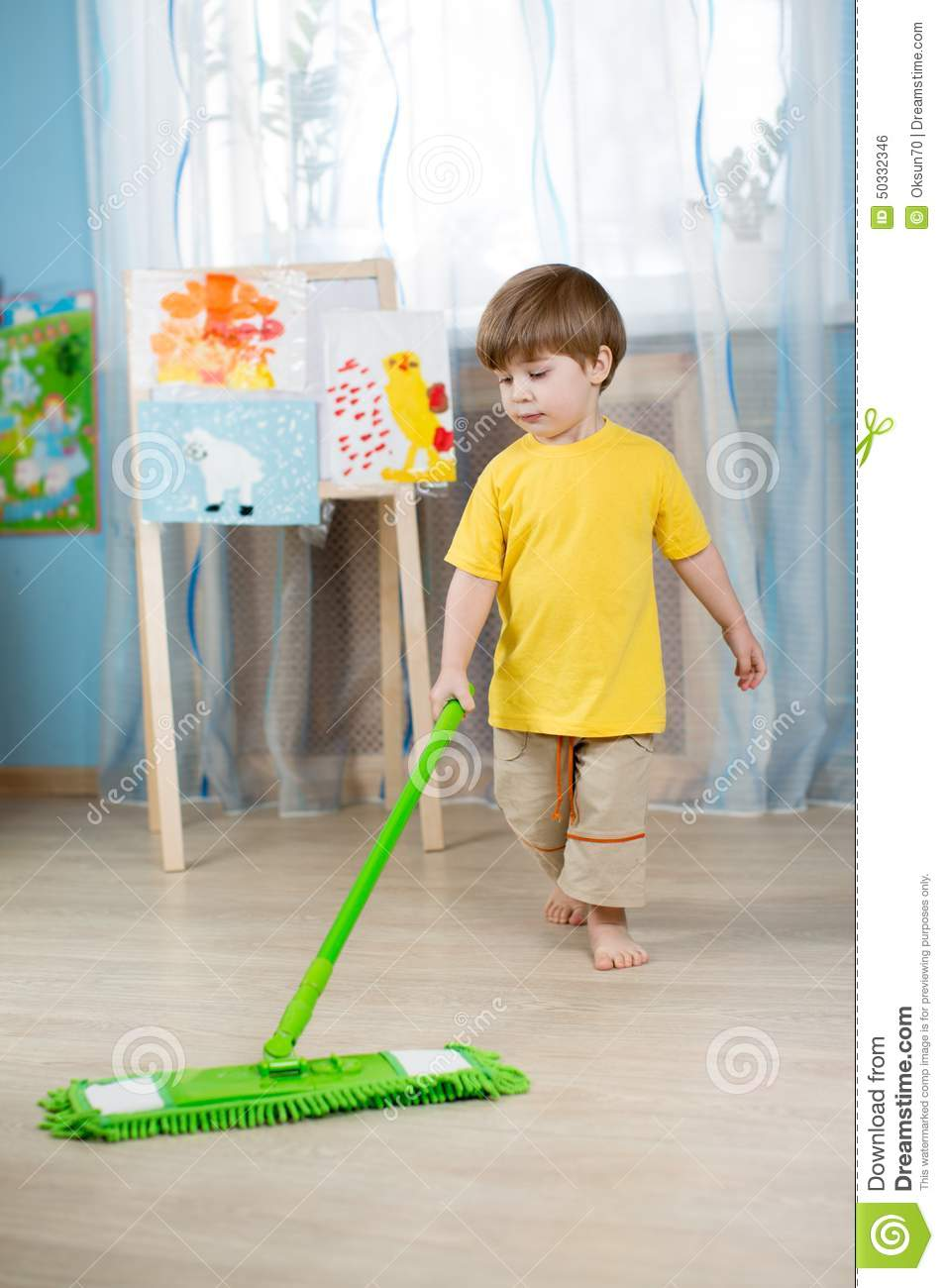Little Boy Cleaning The Apartment Washing Floor Stock