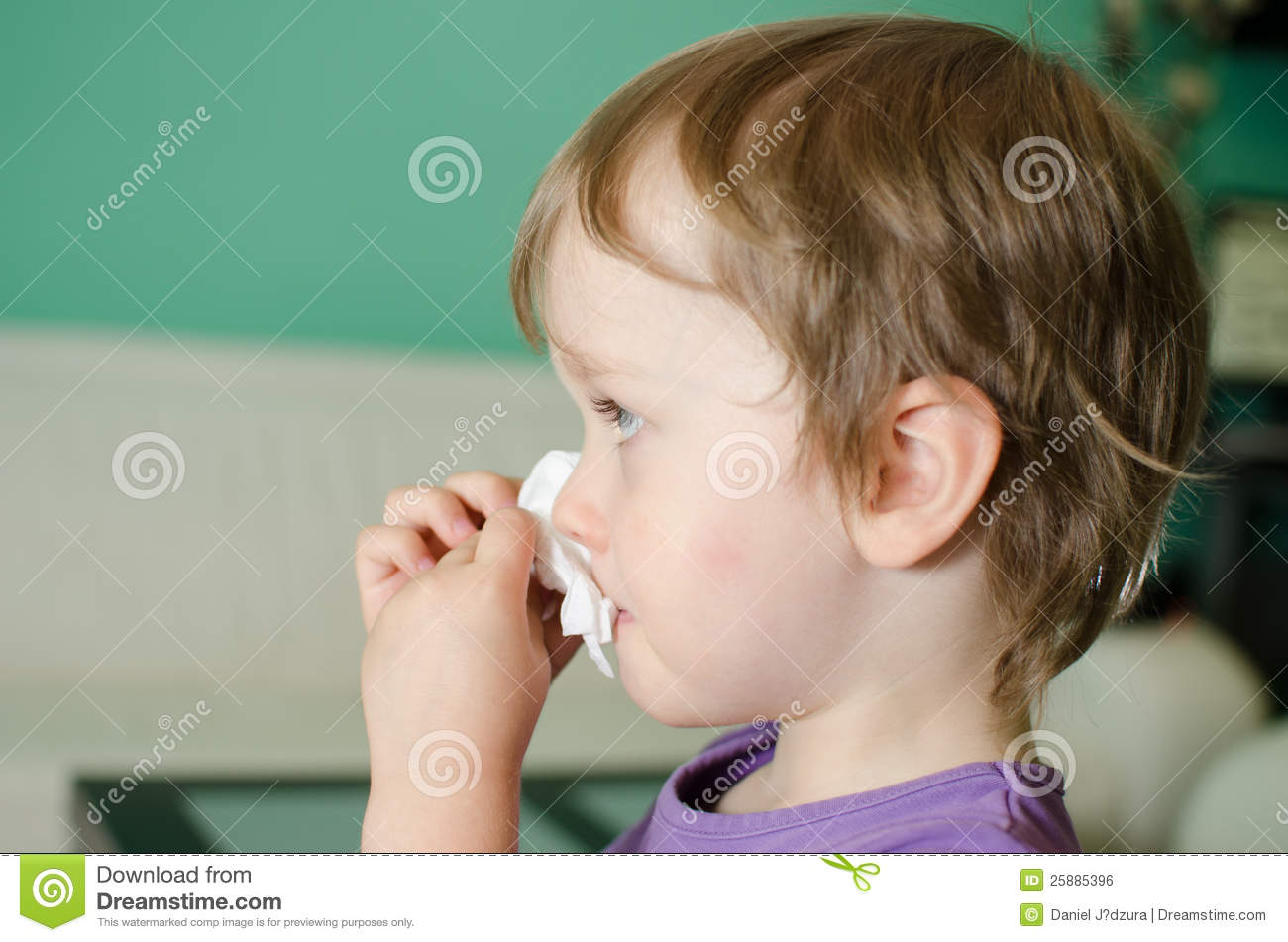 Little Boy Cleaning Nose Royalty Free Stock Image Image
