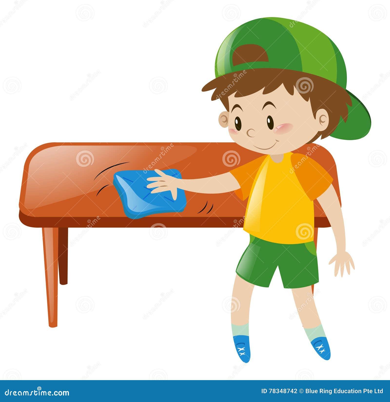 Little boy cleaning table with cloth stock vector image - Monoprix art de la table ...