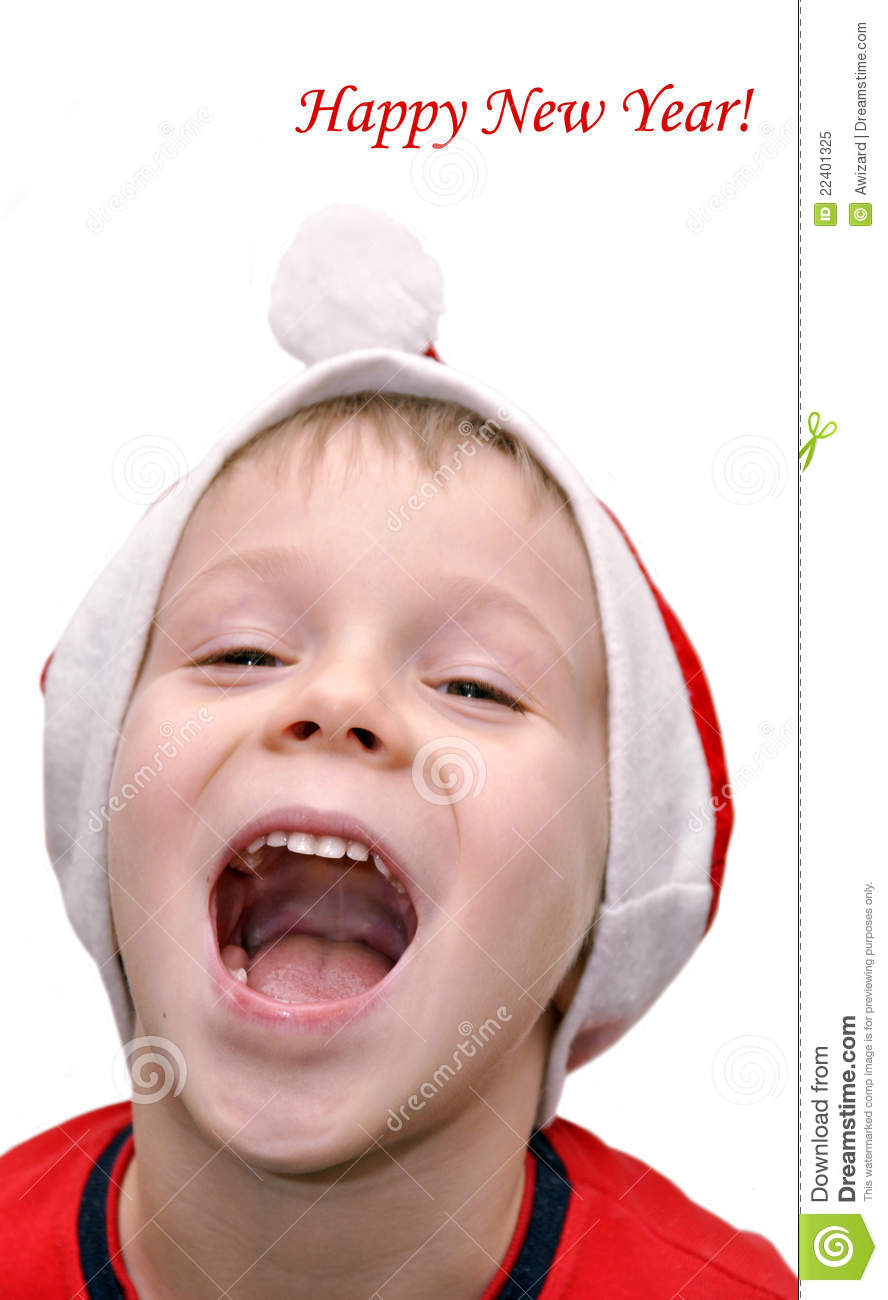 Little Boy Congratulates With Happy New Year Royalty Free Stock Photo ...