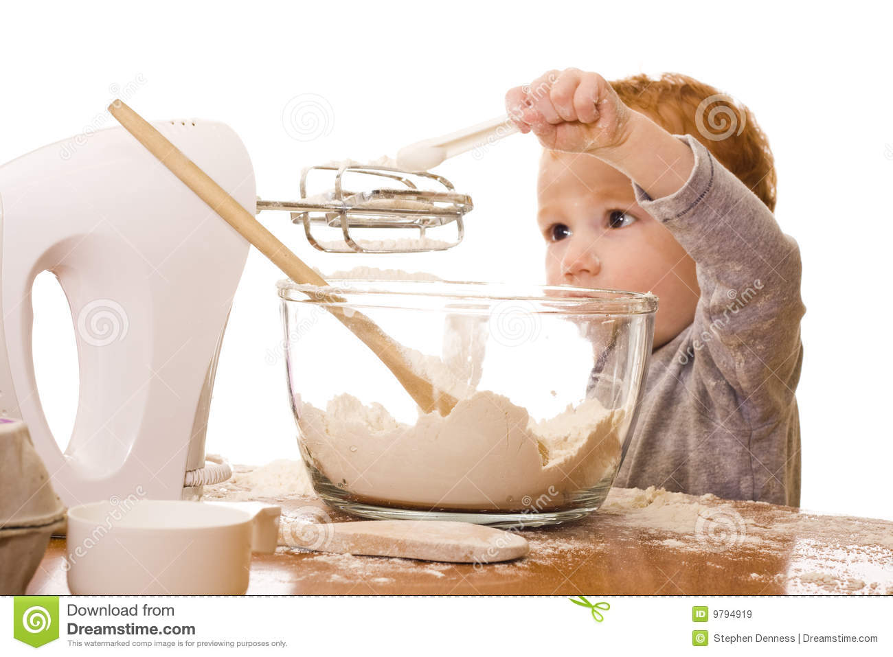 Little boy cooking and making mess in kitchen royalty free for Little boy kitchen set
