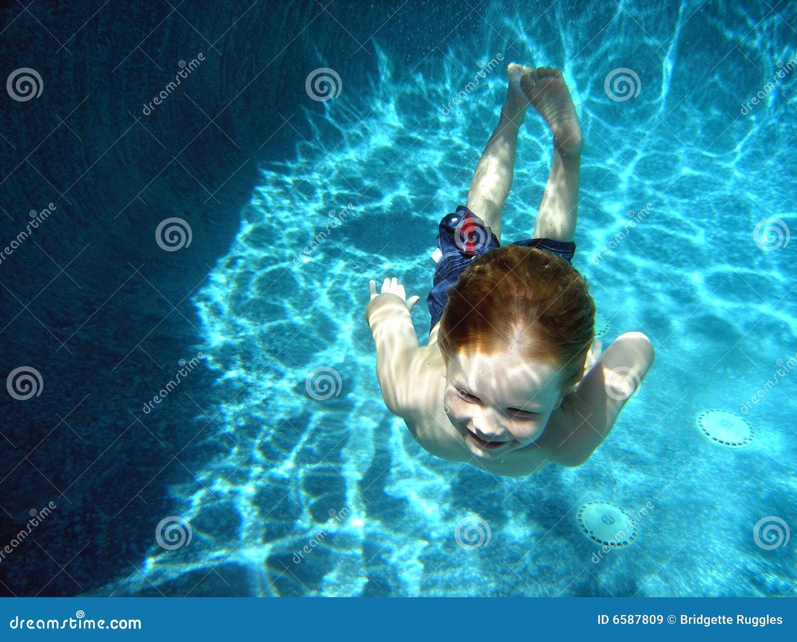 Little boy, deep pool