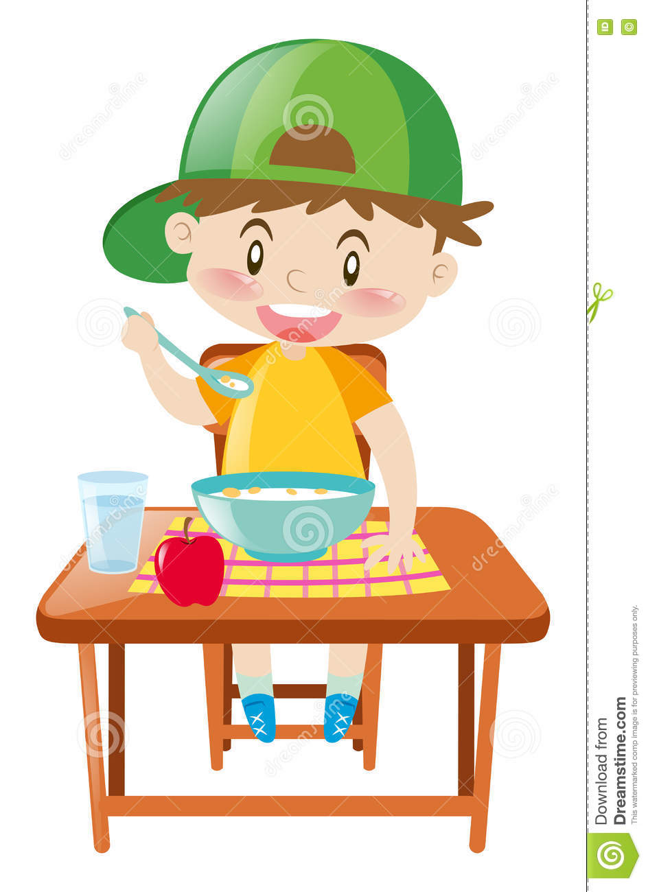 Little boy at dining table eating breakfast stock vector for Eating table