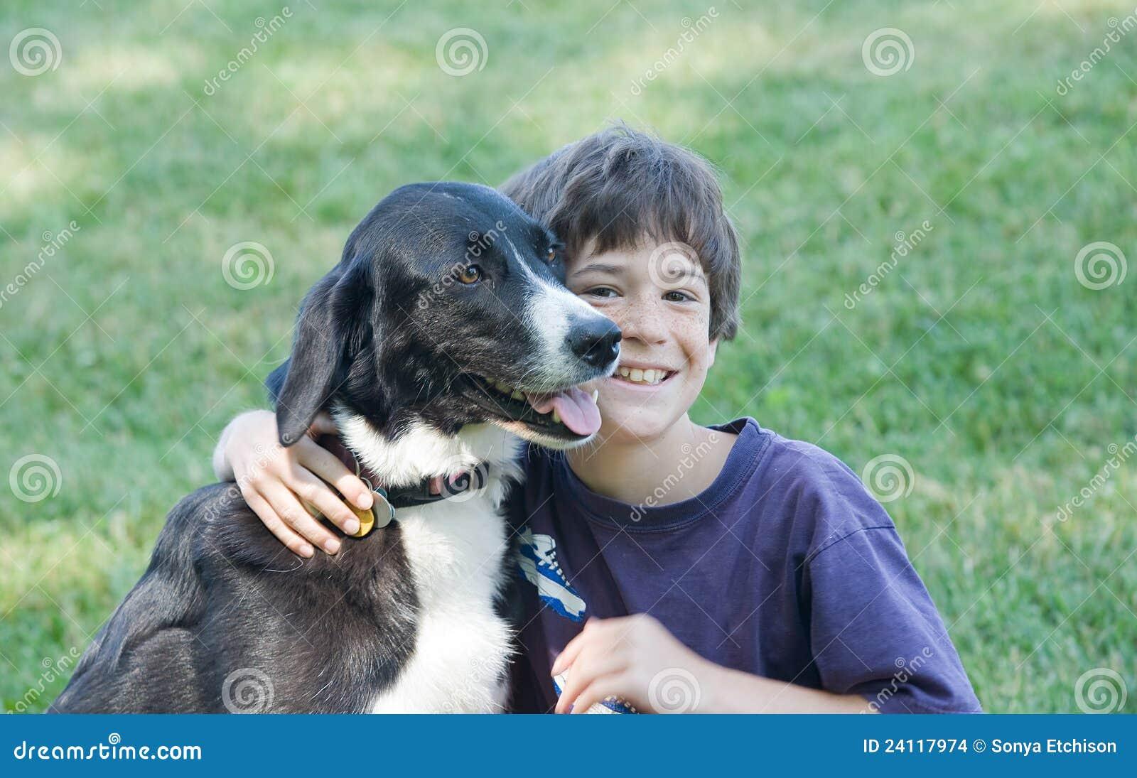 Boy Walking Big Dog