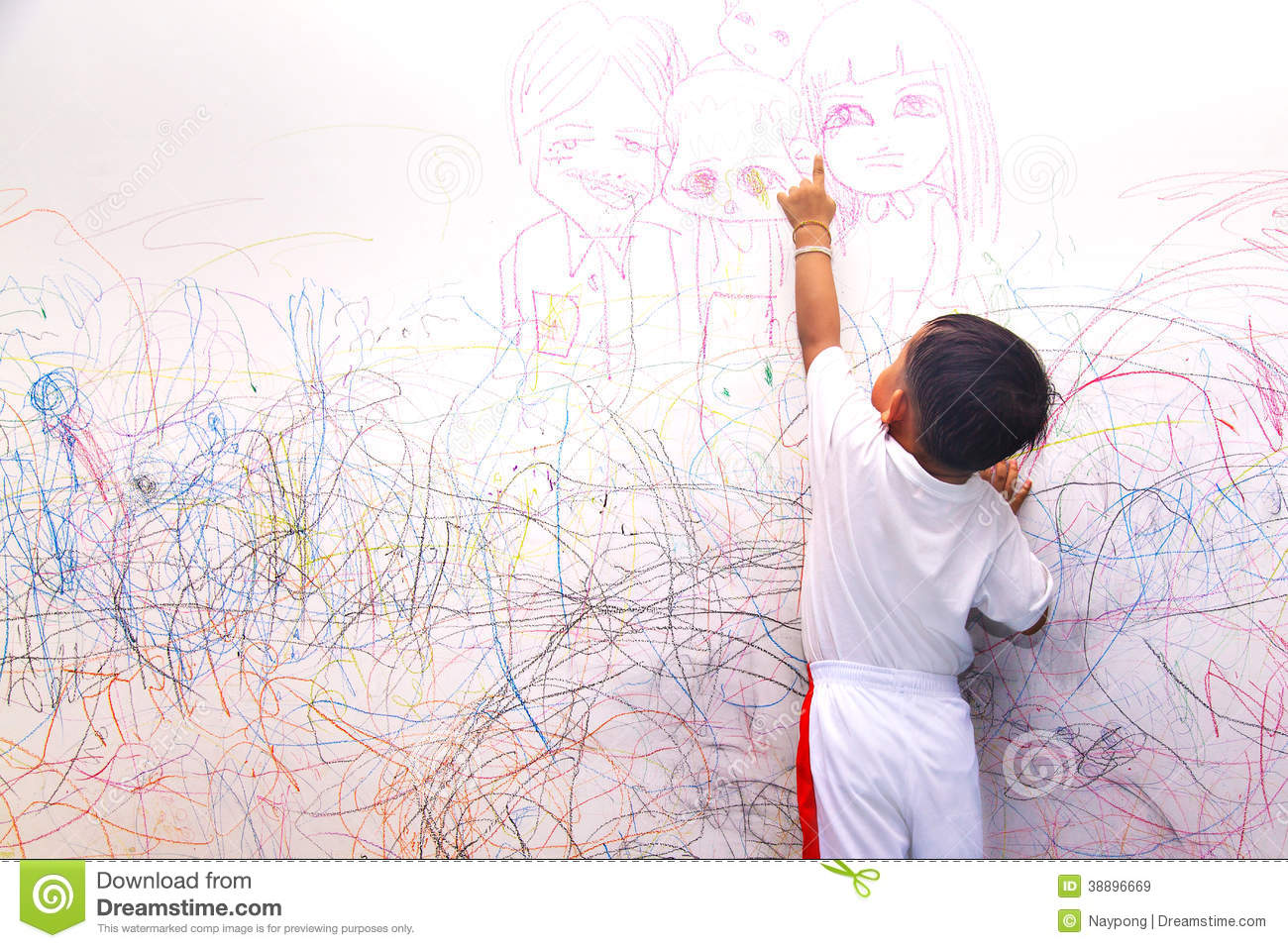 Draw House Plans App Little Boy Drawing Happy Family Stock Illustration Image