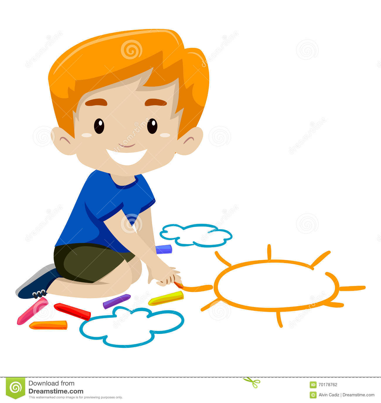 little boy drawing a sun using chalk stock vector illustration of rh dreamstime com Chalk Banner Chalk Banner