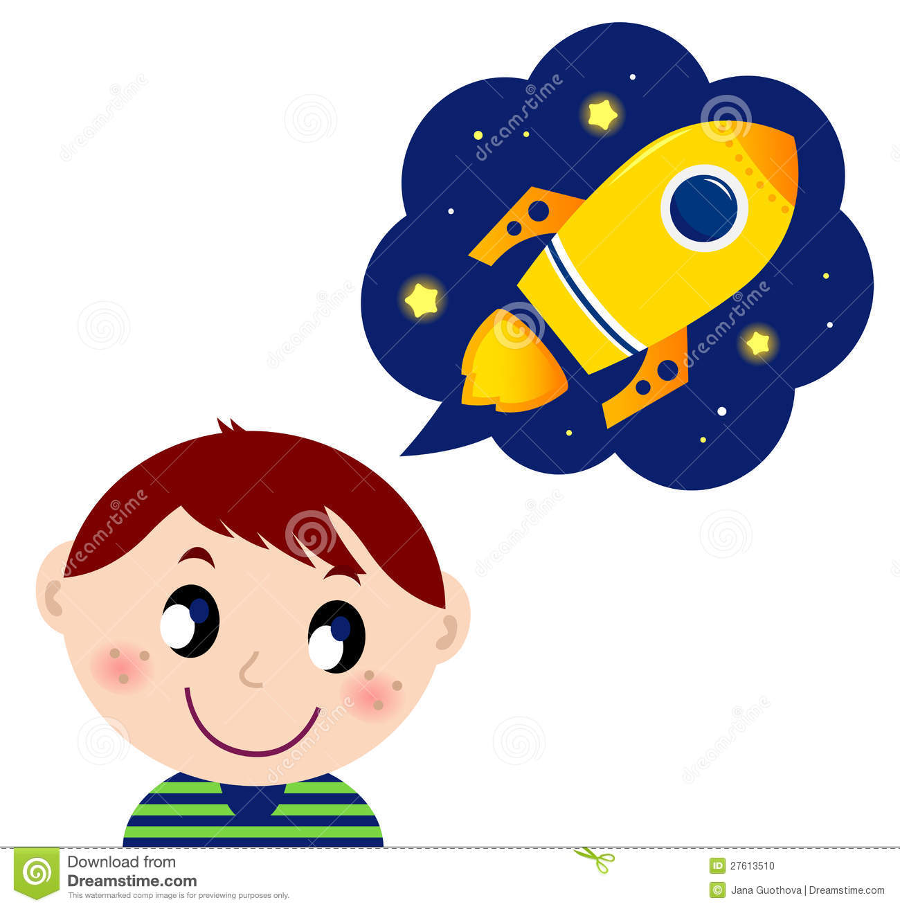 Little Boy Dreaming About Rocket Toy Stock Photo Image