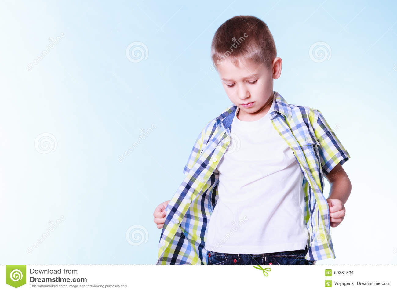 Little Boy Dress Up Try New Clothes Royalty Free Stock Image 69381334