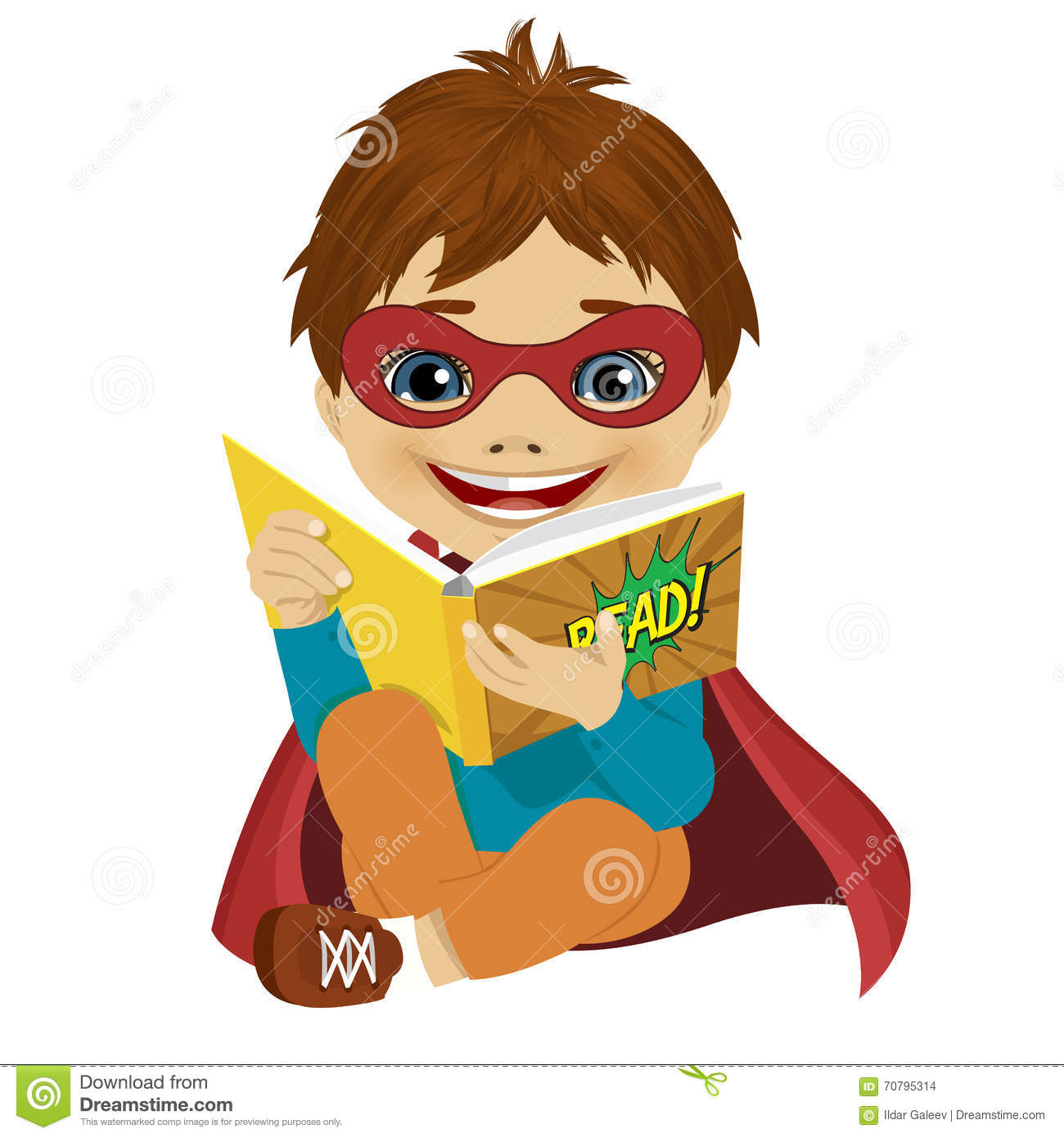 ... Illustration: Little boy dressed as a superhero reading a comic book