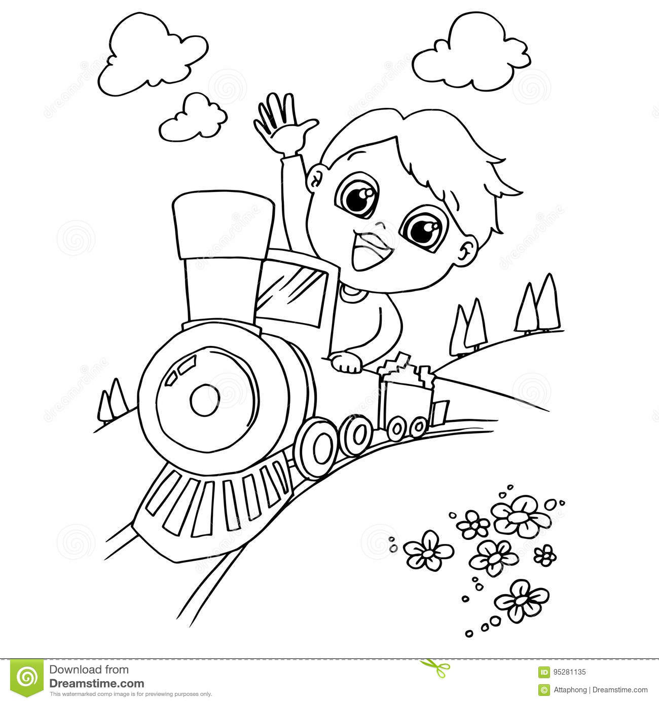 Little Boy Driving A Toy Train Coloring Page Vector Stock Vector