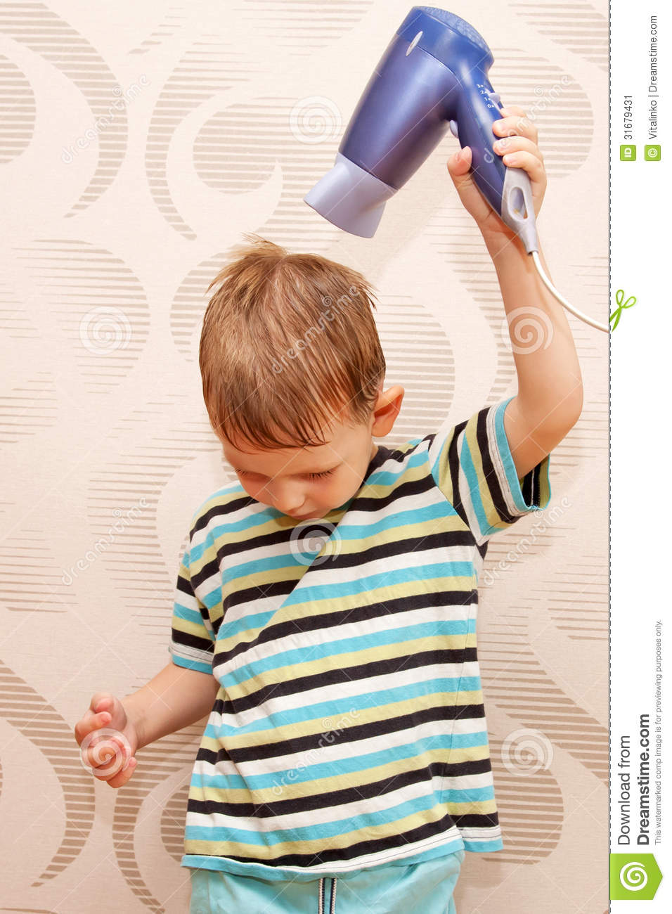 Little Boy Drying Hair With Hair Dryer Stock Image