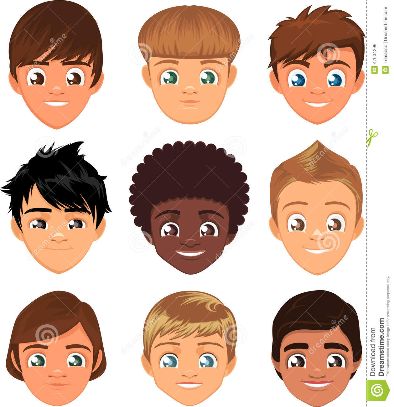 Little Boy Faces Stock Illustration Illustration Of