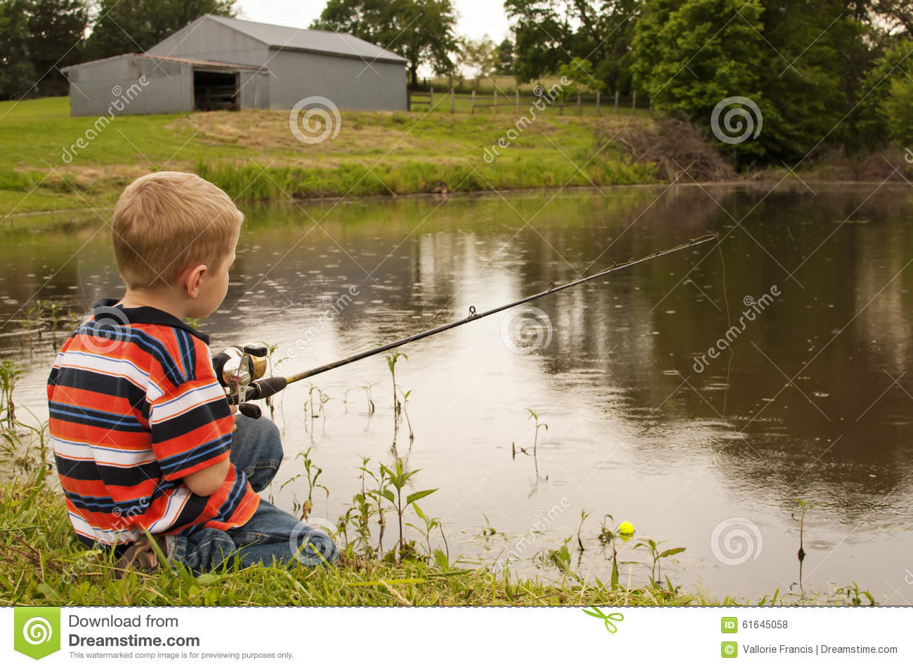 Little boy fishing in pond stock photo image of fishing for Little boy fishing