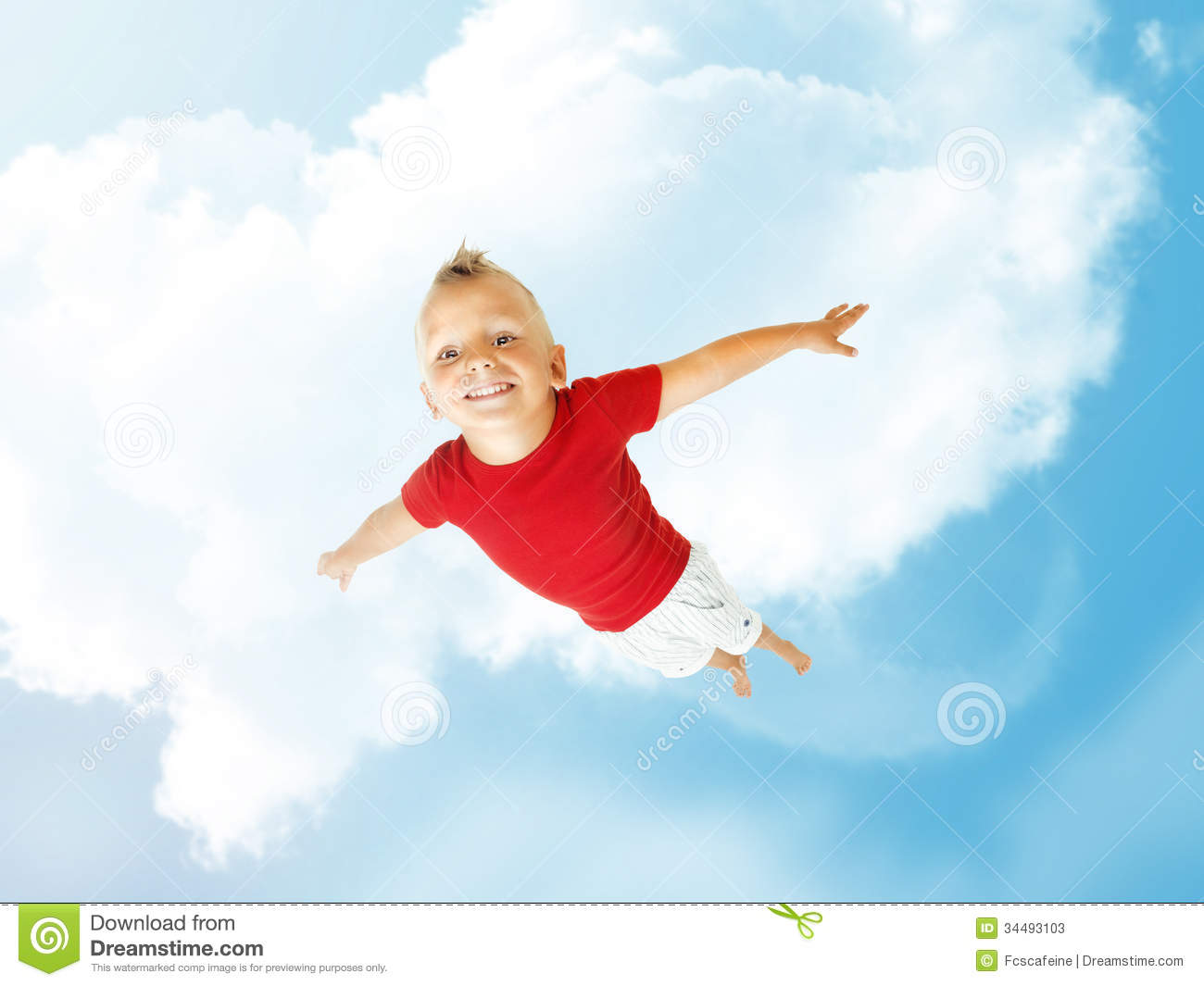 Little Boy Flying Up Into The Sky Stock Photos - Image: 34493103