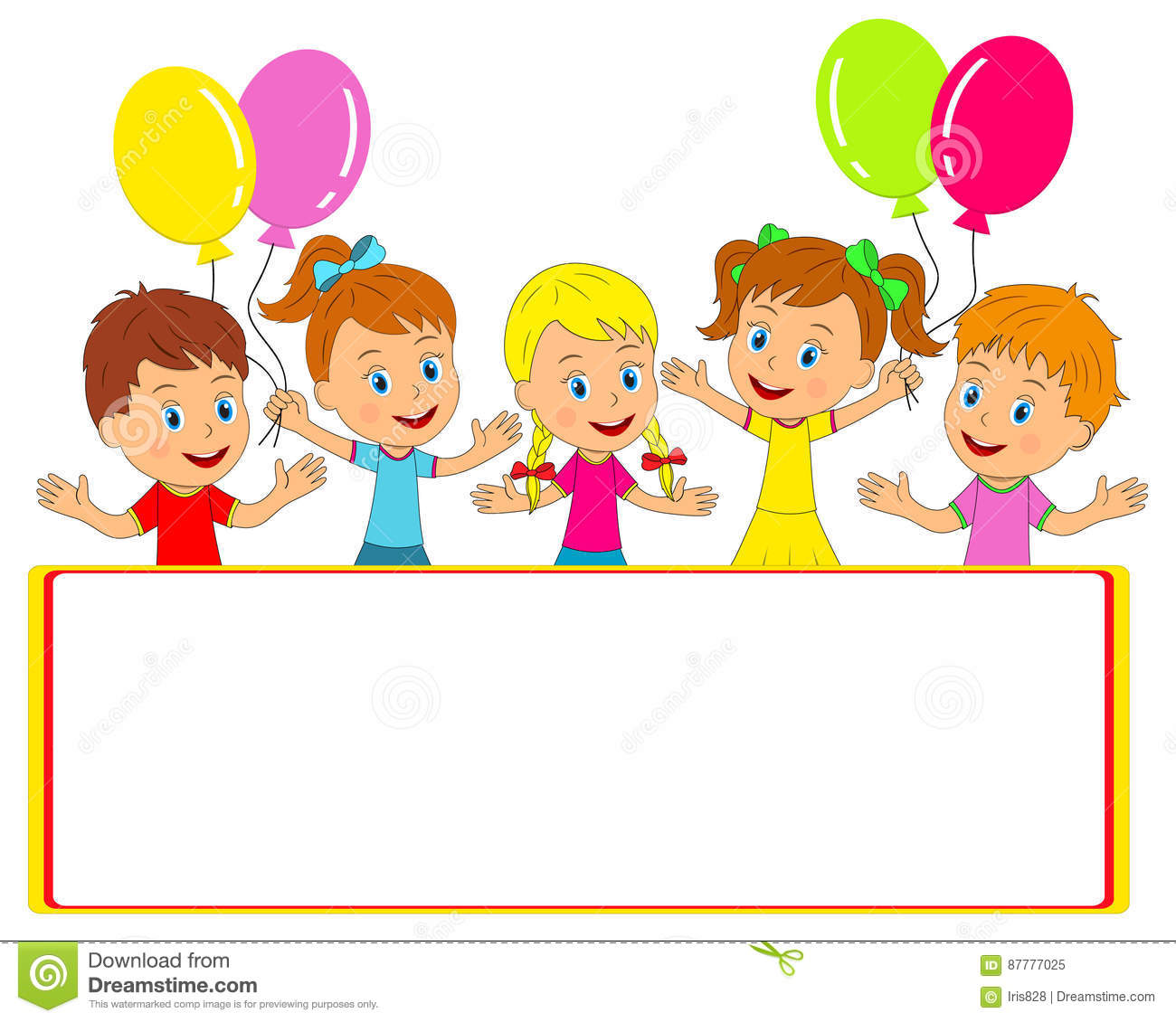 Little Boy And Girl With Balloons And Frame Stock Vector