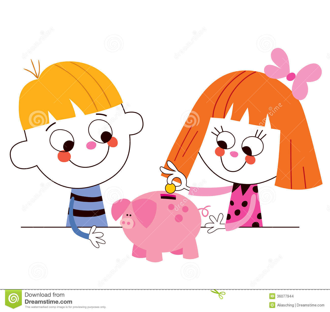 Little boy and girl with piggy bank children s savings