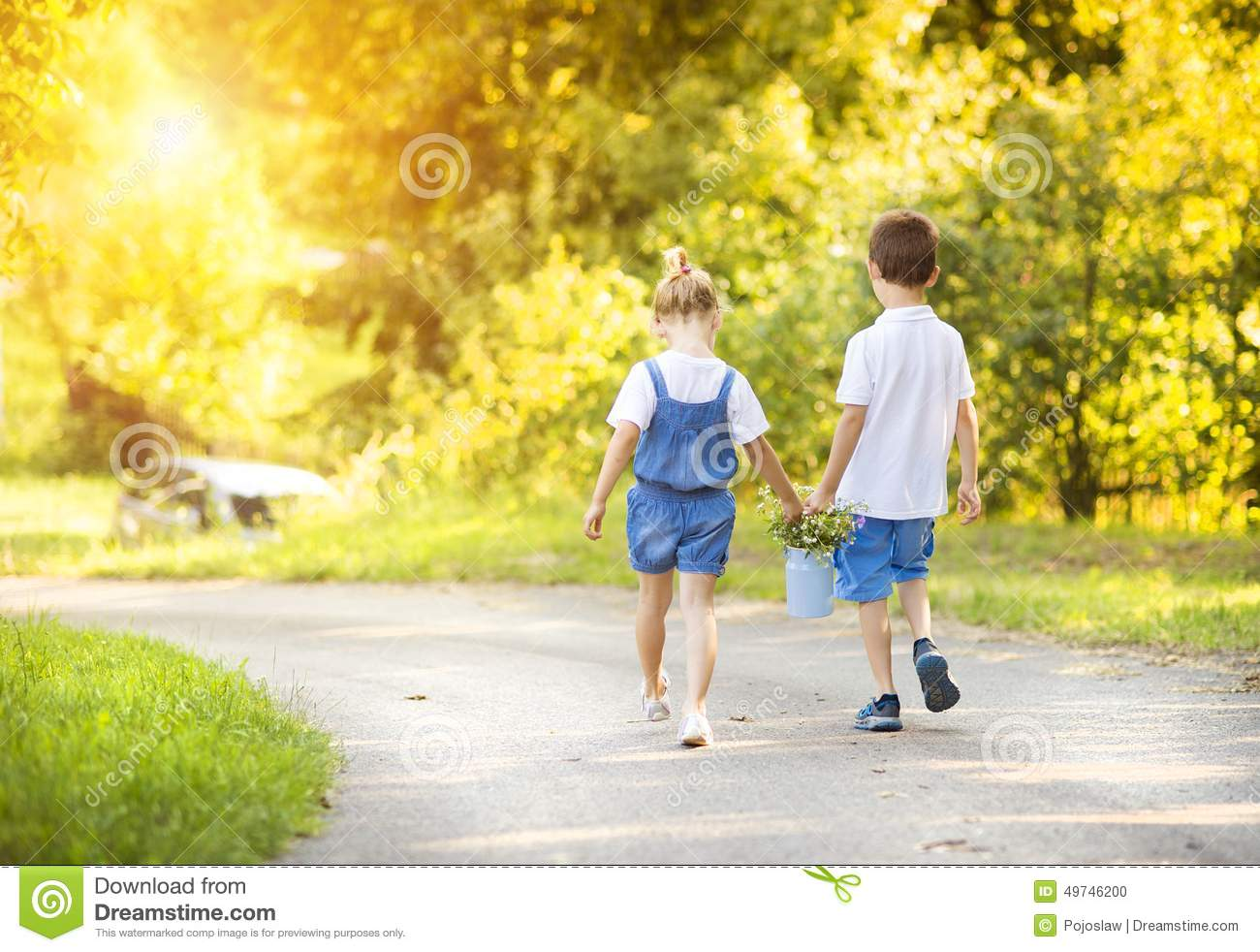 Little Boy And Girl On A Walk Stock Photo Image Of Couple Love